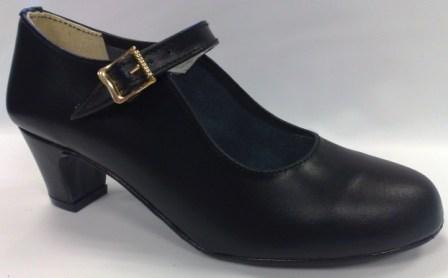 Flamencoskor i svart läder