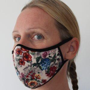 Återanvändbart tyg munskydd i beige