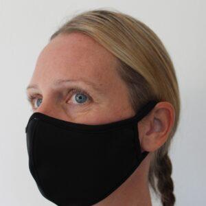 Ansiktsmask i svart tyg.